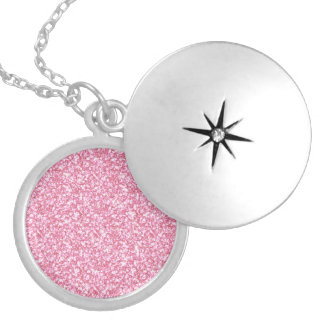 Girly Pink Glitter Printed Round Locket Necklace