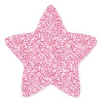 Girly Pink Glitter Printed Star Sticker