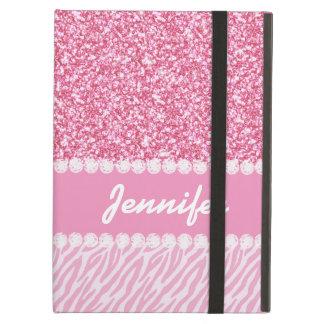 Girly, Pink Glitter, Zebra Stripes, Your Name iPad Air Case