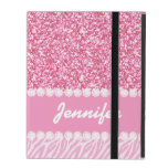 Girly, Pink Glitter, Zebra Stripes, Your Name iPad Folio Cases