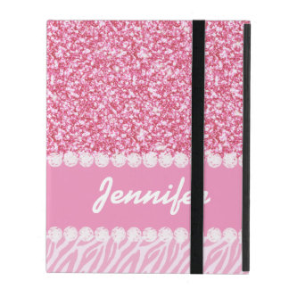 Girly, Pink Glitter, Zebra Stripes, Your Name iPad Folio Cases