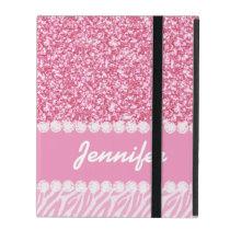 Girly, Pink Glitter, Zebra Stripes, Your Name iPad Cover