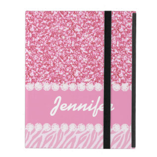 Girly, Pink Glitter, Zebra Stripes, Your Name Ipad Cover at Zazzle