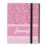 Girly, Pink Glitter, Zebra Stripes, Your Name iPad Covers