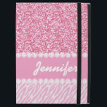 "Girly, Pink Glitter, Zebra Stripes, Your Name iPad Pro 12.9&quot; Case<br><div class=""desc"">Girly, Pink Glitter, Zebra Stripes Pattern with Your Name. Girly, baby pink glitter image PRINTED on the background, with pink zebra stripes pattern, and a pink solid line with two lines of faux printed white diamonds, which you can personalize with your name in a fun bold script font. A cute,...</div>"