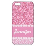 Girly, Pink Glitter, Zebra Stripes, Your Name iPhone 5C Cover
