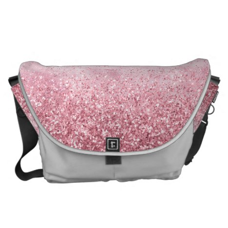 Girly Pink Glitzy Glitter Messenger Bag