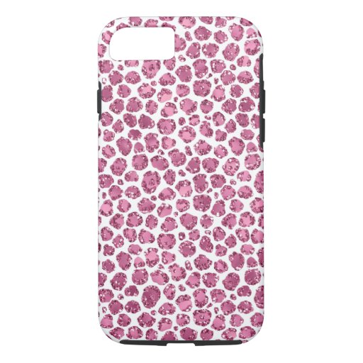 Girly Pink Glitzy Leopard Print iPhone 8/7 Case