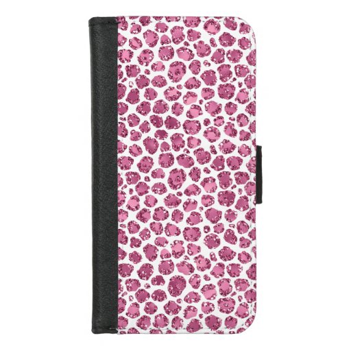 Girly Pink Glitzy Leopard Print iPhone 8/7 Wallet Case
