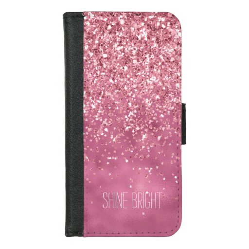 Girly Pink Glitzy Sparkle Glitter iPhone 8/7 Wallet Case