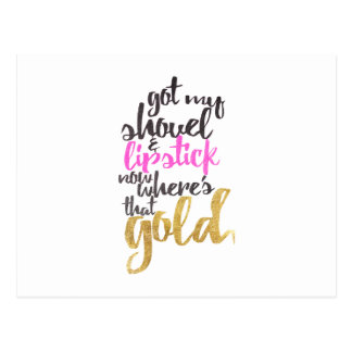 Girly Pink Gold Black Gold Digger Typography Postcard