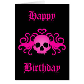 Girly pink goth fanged vampire skull on black greeting card
