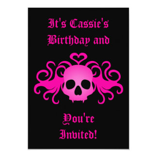 Girly pink goth fanged vampire skull on black card