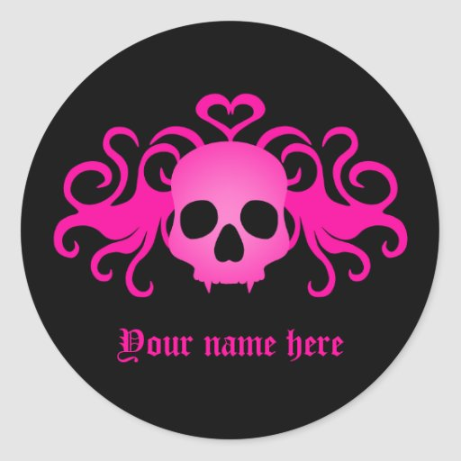 Girly pink goth fanged vampire skull on black stickers