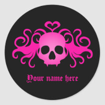 Girly pink goth skull on black classic round sticker