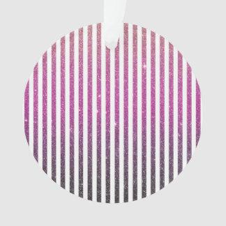Girly Pink Gradient Stripes Glitter Photo Print