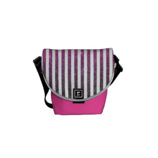 Girly Pink Gradient Stripes Glitter Photo Print Courier Bag