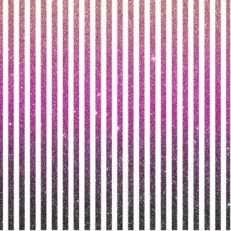 Girly Pink Gradient Stripes Glitter Photo Print Photo Cutout