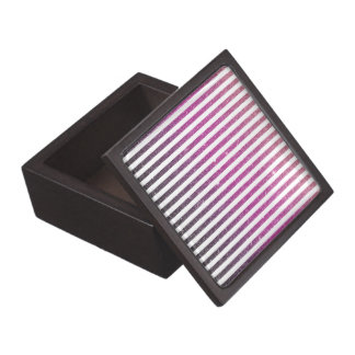 Girly Pink Gradient Stripes Glitter Photo Print Premium Keepsake Box
