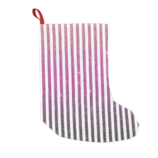 Girly Pink Gradient Stripes Glitter Photo Print Small Christmas Stocking