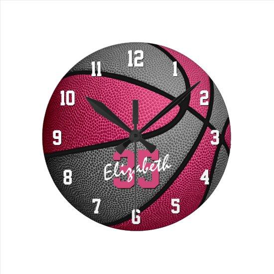 girly pink gray personalized basketball round clock