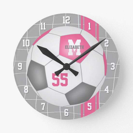 girly pink gray personalized soccer round clock