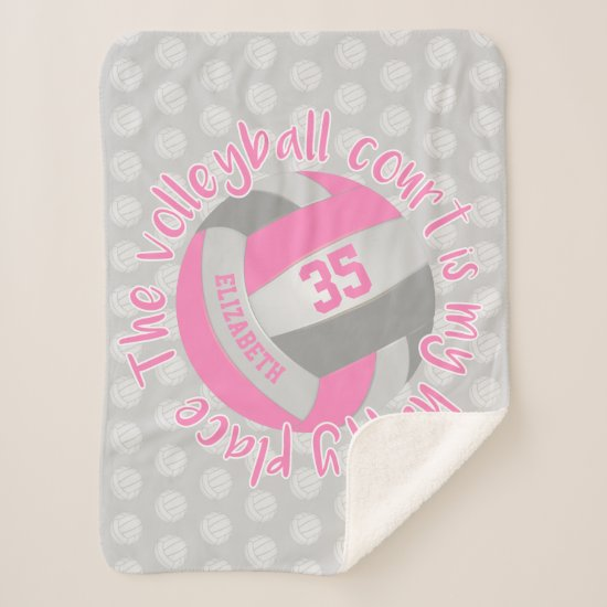 girly pink gray volleyball court my happy place sherpa blanket