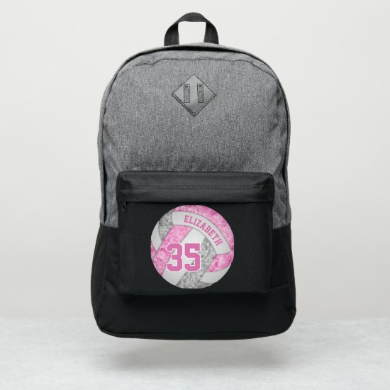 girly pink gray white sporty volleyball port authority® backpack