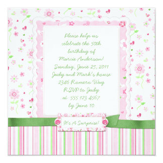 Girly Pink Green Flowers Hearts Birthday Card