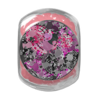 Girly Pink Grey Abstract Glass Jars