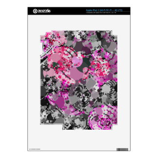 Girly Pink Grey Abstract Skin For iPad 3