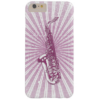 Girly Pink Grunge Saxophone Barely There iPhone 6 Plus Case