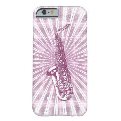 Girly Pink Grunge Saxophone Barely There iPhone 6 Case