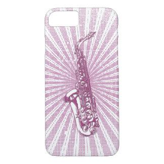 Girly Pink Grunge Saxophone iPhone 7 Case