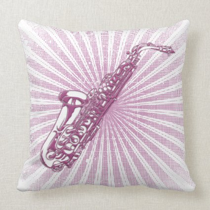 Girly Pink Grunge Saxophone Pillows