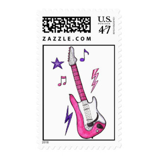 Girly Pink Guitar Rocker Girl Stamp