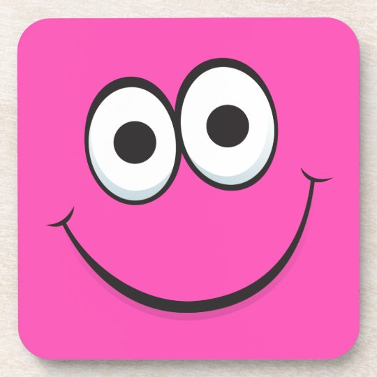 Girly pink happy smiley cartoon face cork coaster