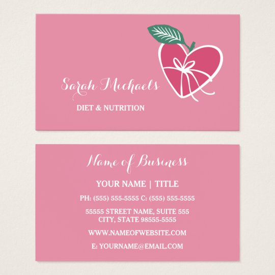 Girly pink heart apple with bow diet and nutrition business card girly pink heart apple with bow diet and nutrition business card reheart Image collections