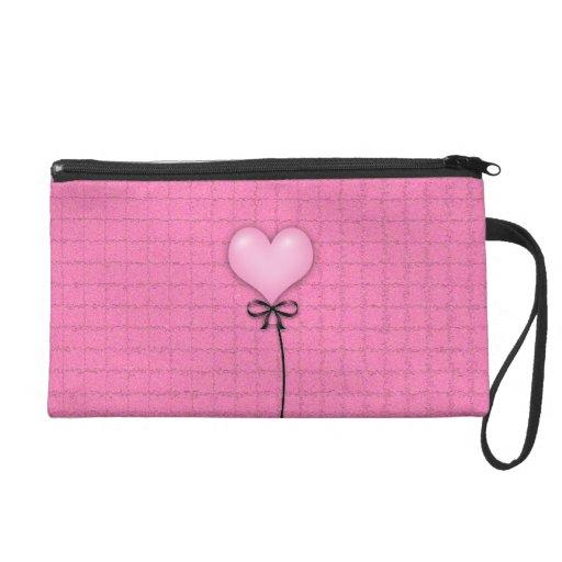 Girly Pink Heart Balloon Wristlet Purse