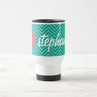 Girly Pink Heart with Trendy Chevrons and Name Travel Mug
