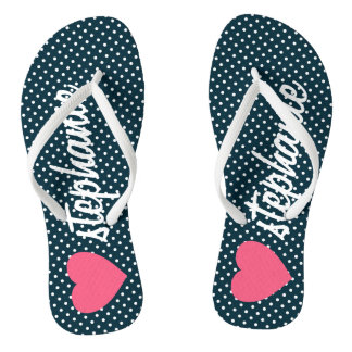 Girly Pink Heart with Trendy Polka Dots and Name Flip Flops