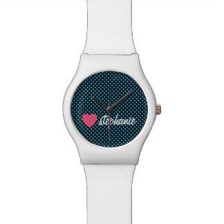 Girly Pink Heart with Trendy Polka Dots and Name Wrist Watch