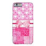Girly Pink Hearts and Polka Dots Cute Bow and Name Barely There iPhone 6 Case