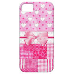 Girly Pink Hearts and Polka Dots Cute Bow and Name iPhone 5 Cover