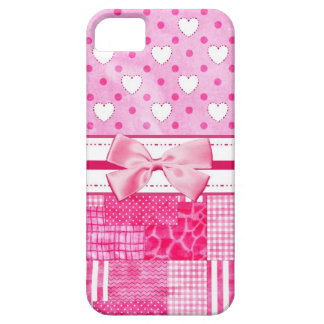 Girly Pink Hearts and Polka Dots Cute Bow and Name iPhone SE/5/5s Case