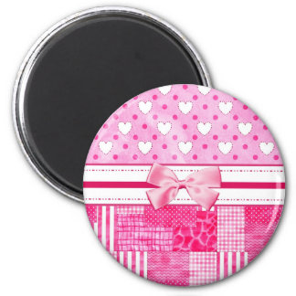 Girly Pink Hearts and Polka Dots Cute Bow and Name Magnet