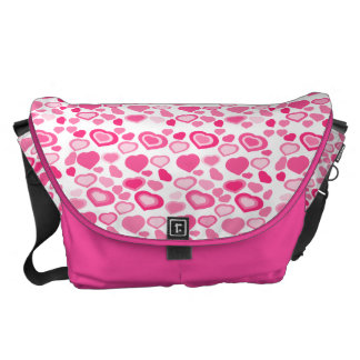 girly pink hearts courier bag