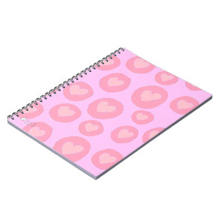 Girly pink hearts hand painted love cute pattern notebook