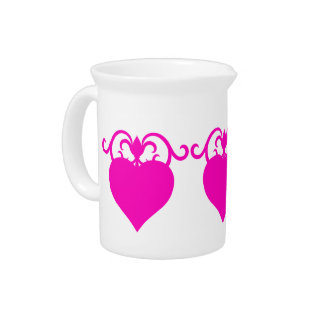 Girly pink hearts pitcher