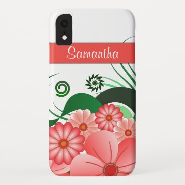 Girly Pink Hibiscus Floral Decoration Trendy iPhone XR Case